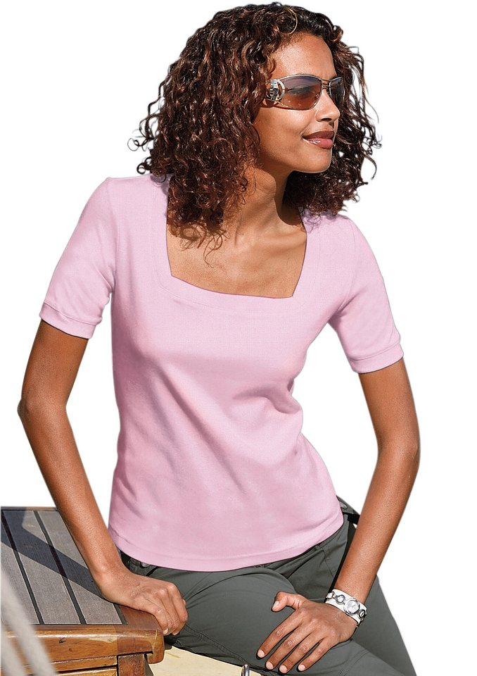 Collection L. Kurzarm-Shirt in rosé