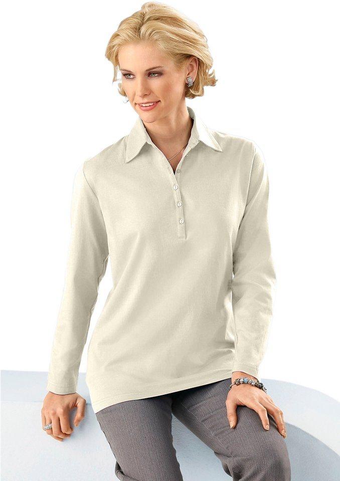 Classic Basic Poloshirt in aktueller Rippoptik in ecru