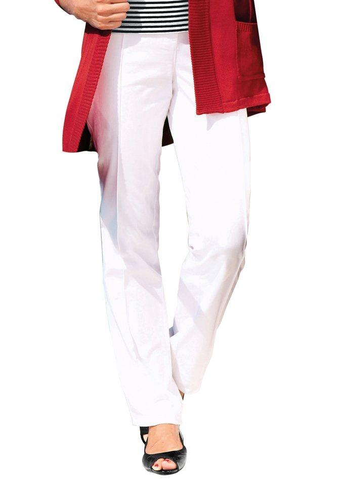 Ambria Hose mit optisch streckender, abgesteppter Biese vorne in weiß