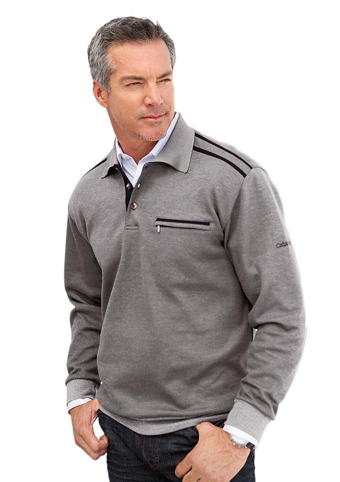 Catamaran Sweatshirt mit Knopfleiste in hellgrau-meliert