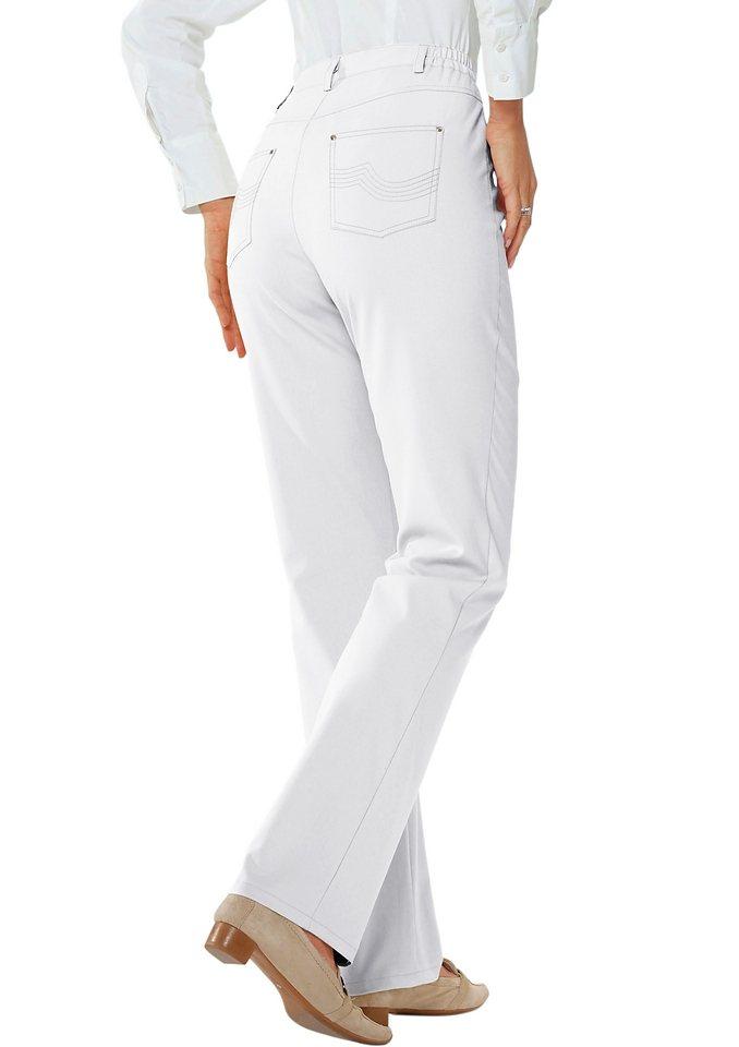 Hose mit dekorativer Stickerei auf den beiden Gesäßtaschen in weiß