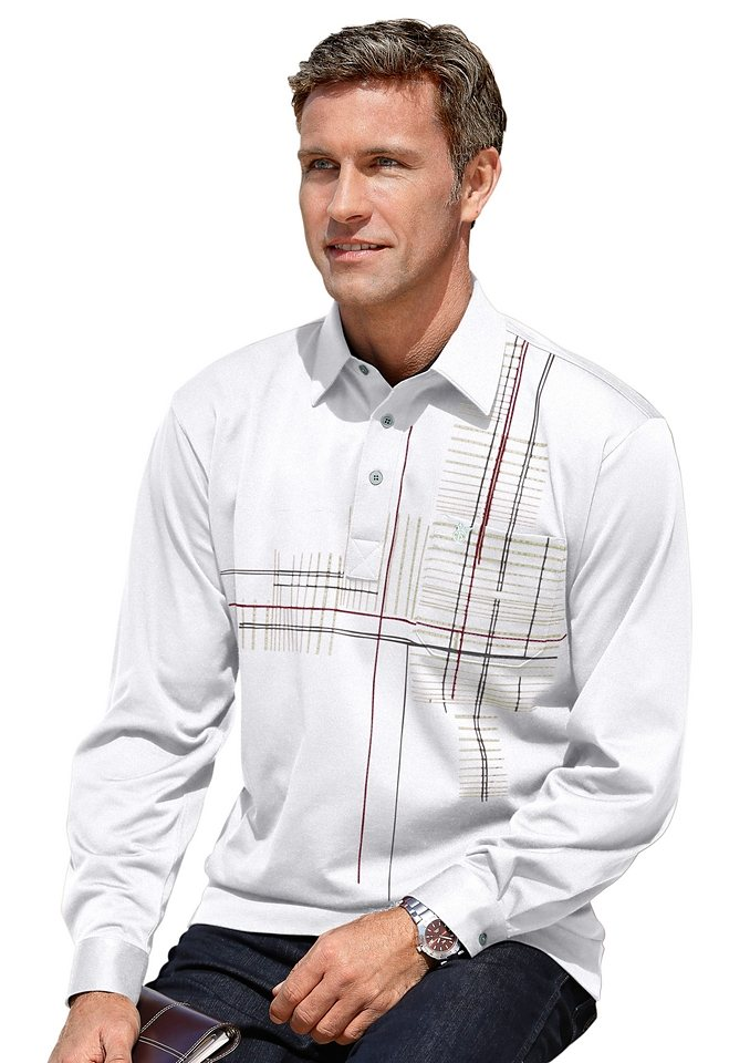 Hajo Poloshirt mit verstellbarer Kombimanschette in kitt