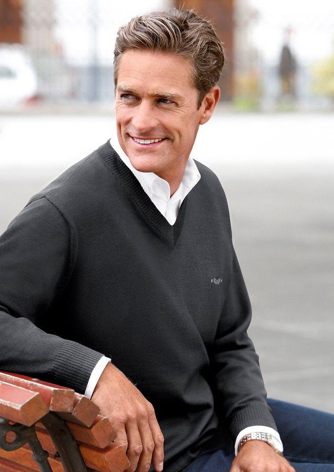 Classic V-Pullover im edlen Feinstrick | Bekleidung > Pullover > V-Pullover | Grau | Schurwolle | Classic