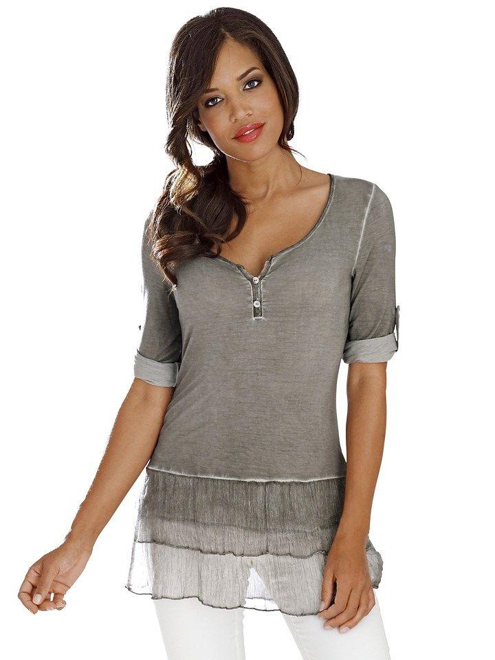 Rundhalsshirt in khaki