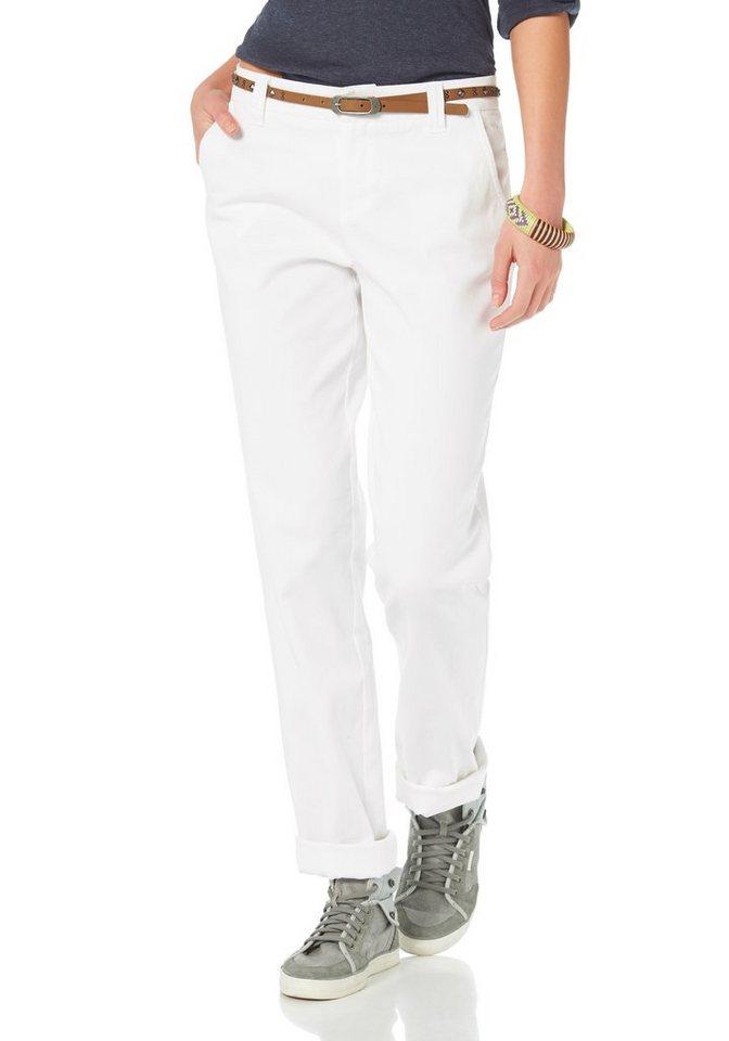 Boysen's Chinohose mit Stretch-Anteil (Set, mit Gürtel) in weiß