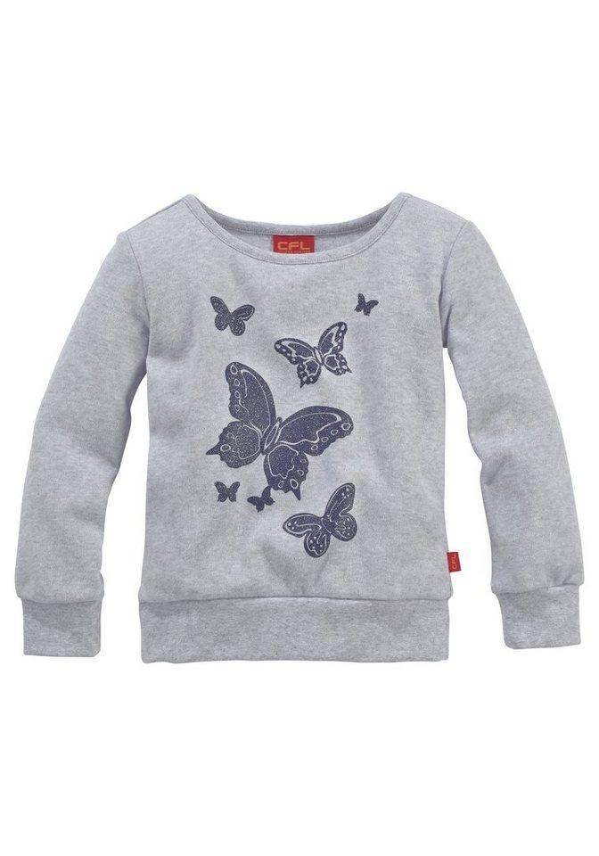 CFL Kuschelshirt mit Schmetterlingen für Mädchen in grau meliert