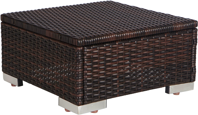 MERXX Hocker , (B/T/H): ca. 50x50x25 cm, Polyrattan, braun