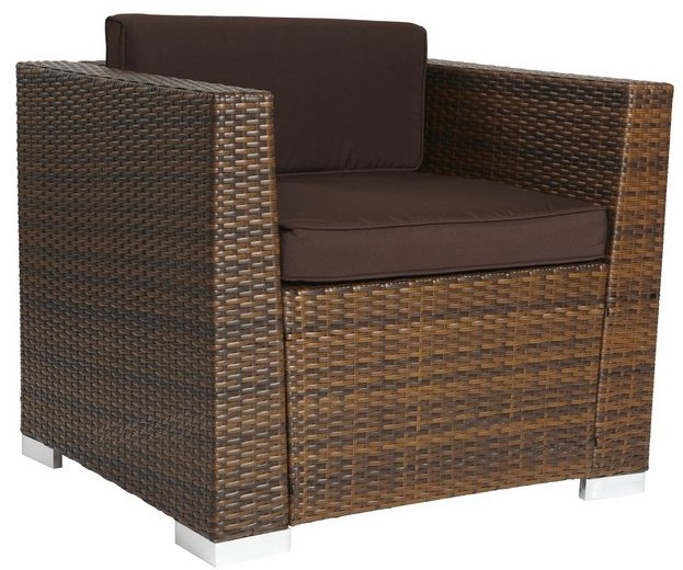 loungesessel bari deluxe polyrattan inkl auflagen braun online kaufen otto. Black Bedroom Furniture Sets. Home Design Ideas