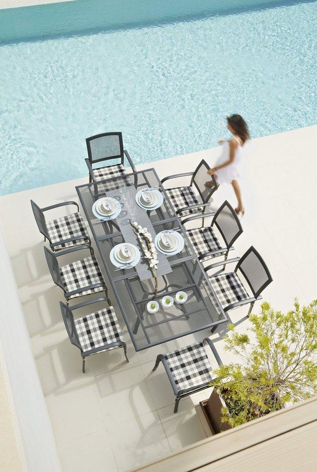 17-tgl. Gartenmöbelset »Montreal«, 8 Sessel + Auflagen, Tisch180-240 cm, Alu/Textil in schwarz