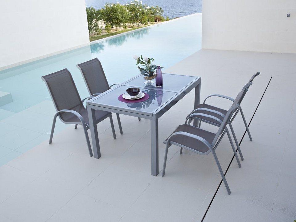 5-tgl. Gartenmöbelset »Amalfi«, 4 Sessel, Tisch 120-180 cm, Alu/Textil in taupe