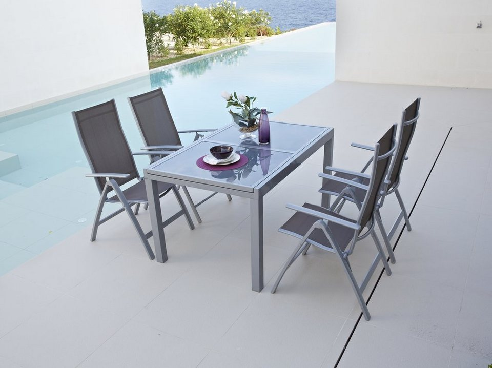 Gartenmöbelset »Amalfi«, 5-tlg., 4 Klappsessel, Tisch 90x120-180 cm ...