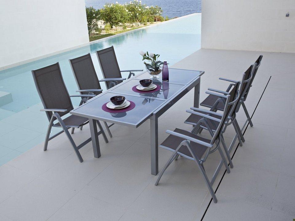 7-tgl. Gartenmöbelset »Amalfi«, 6 Klappsessel, Tisch 140-200 cm, Alu/Textil in taupe