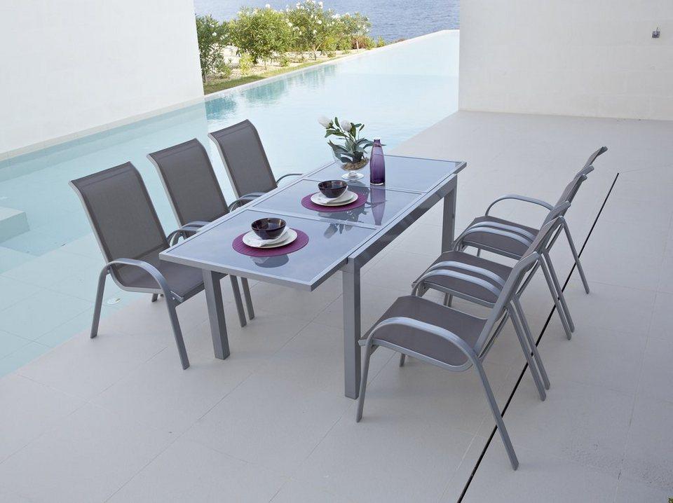 7-tgl. Gartenmöbelset »Amalfi«, 6 Sessel, Tisch 140-200 cm, Alu/Textil in taupe