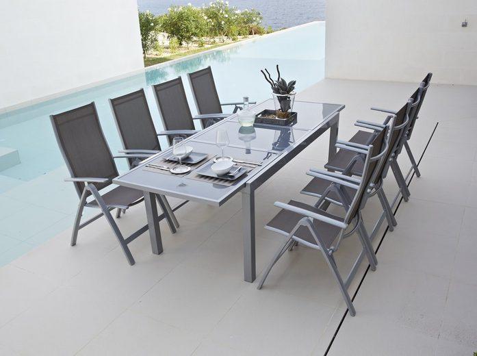 MERXX Gartenstuhl »Amalfi«, (2er Set), Alu/Textil, verstellbar