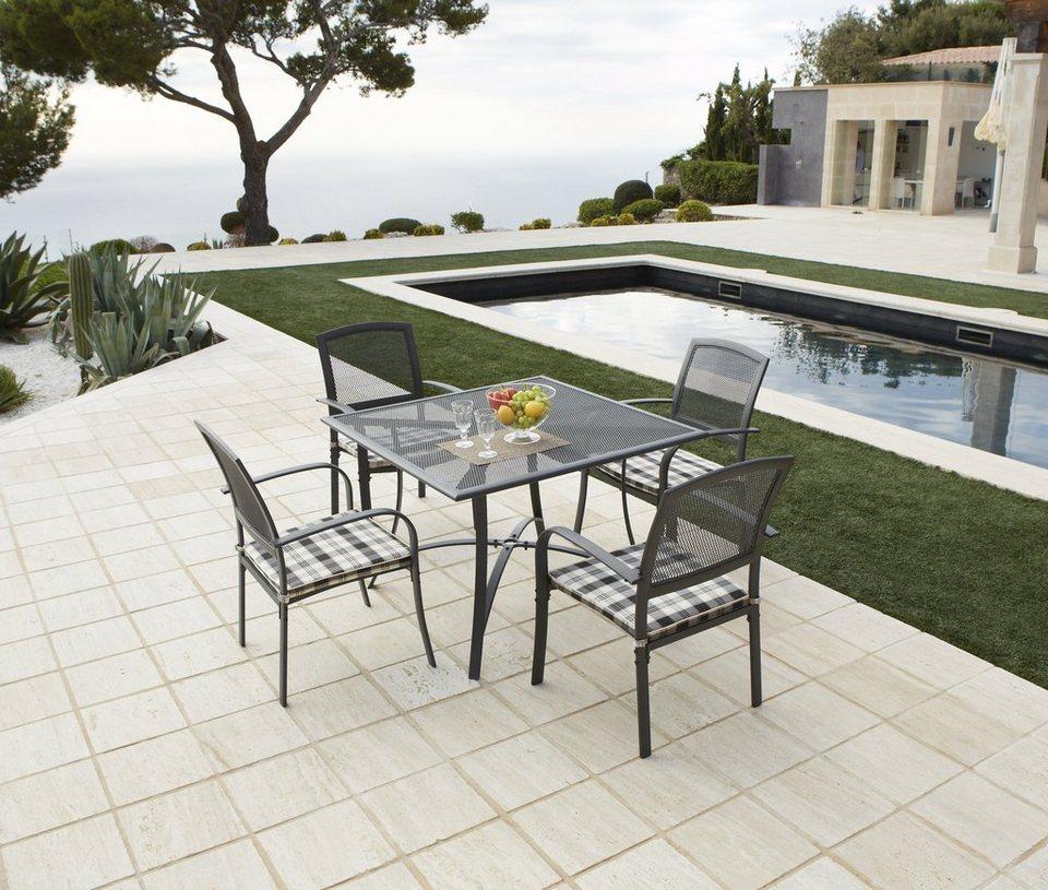 9-tgl. Gartenmöbelset »Montreal«, 4 Sessel + Auflagen, Tisch 110x110 cm, Alu, anthrazit in schwarz