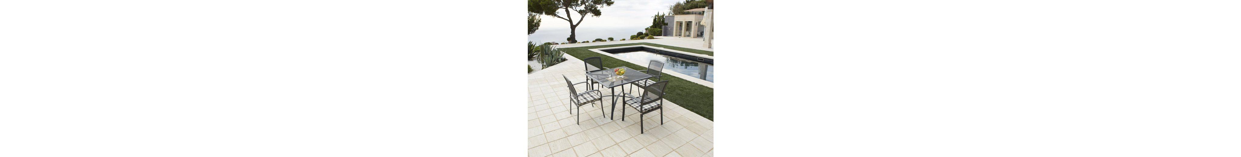 9-tgl. Gartenmöbelset »Montreal«, 4 Sessel + Auflagen, Tisch 110x110 cm, Alu, anthrazit