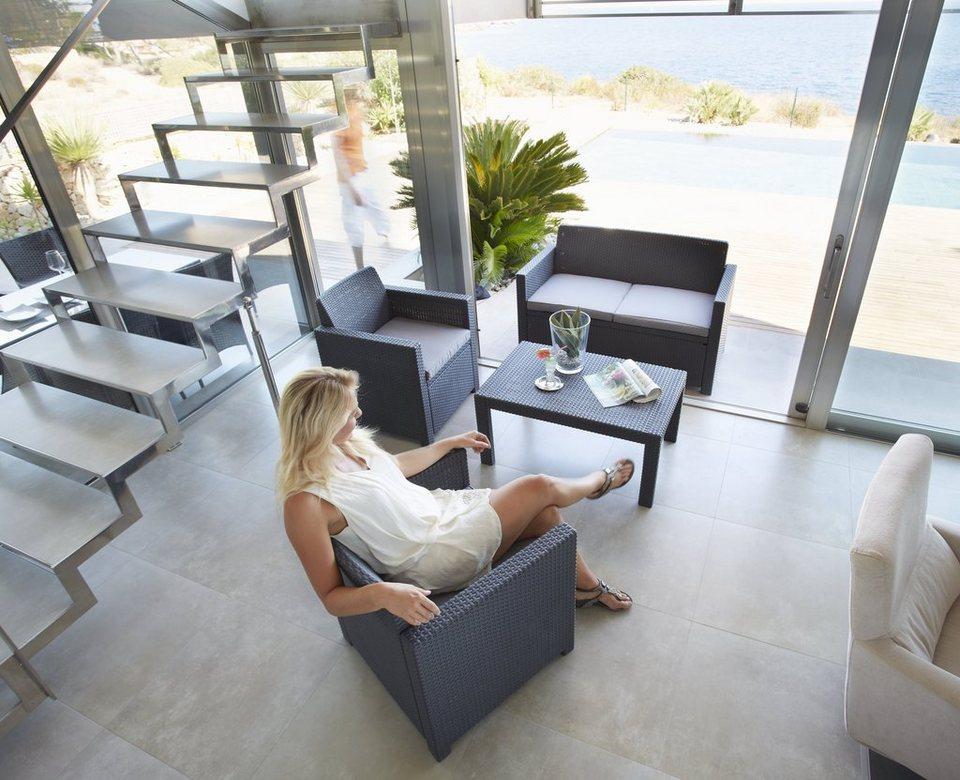 8-tgl. Loungeset »Merano«,2er-Sofa, 2 Sessel, Tisch 91x48,5 cm, Kunststoff, anthrazit in anthrazit