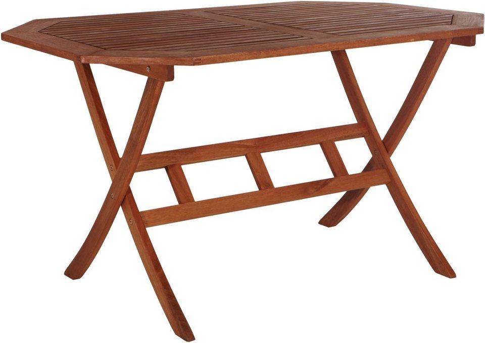 Gartentisch holz klappbar  Gartentisch »Borkum«, klappbar, Eukalyptusholz, 135x85 cm online ...