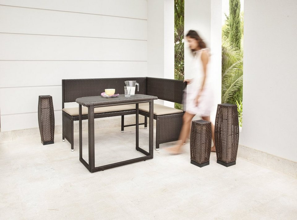 gartenm belset rattan 4 tlg eckbank tisch 90x50 cm. Black Bedroom Furniture Sets. Home Design Ideas