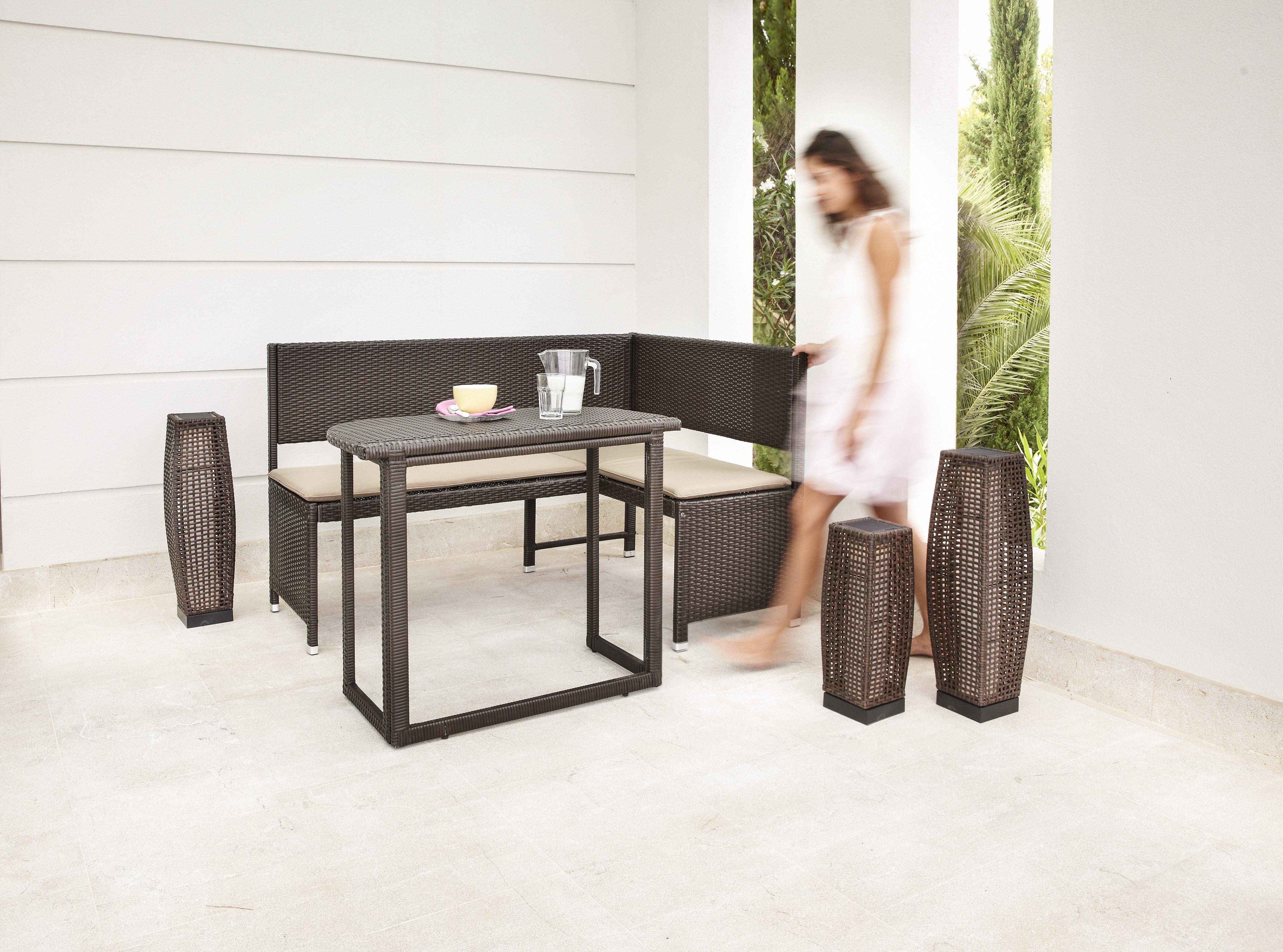 Gartenmöbelset »Rattan«, 4-tlg., Eckbank, Tisch90x50 cm, Polyrattan, braun