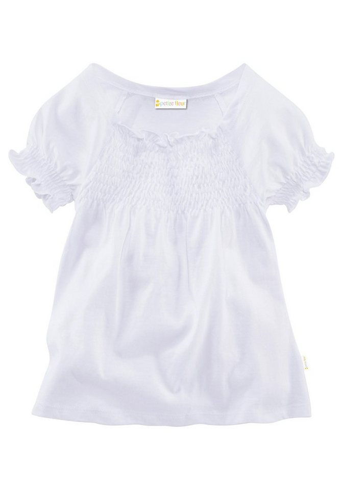 PETITE FLEUR T-Shirt Mit Smok-Effekt am Ausschnitt in weiß