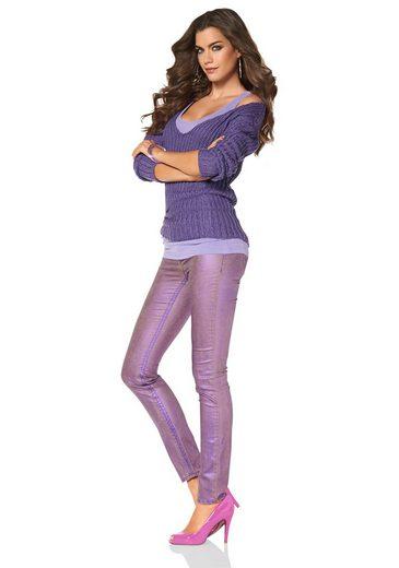 Laura Scott V-Ausschnitt-Pullover, mit Glanzgarn