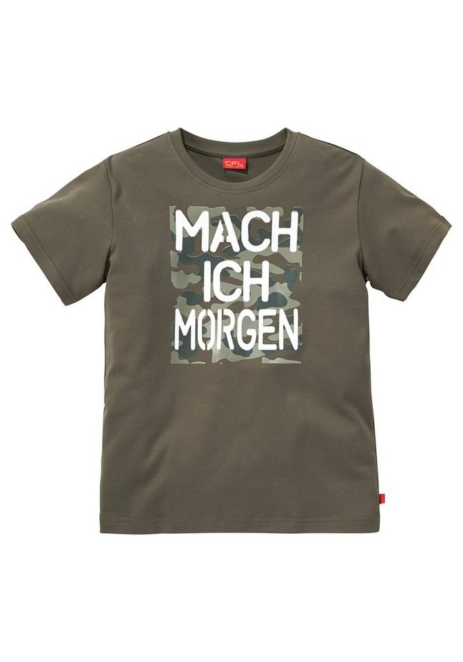 "CFL T-Shirt ""Mach ich morgen"" in khaki"