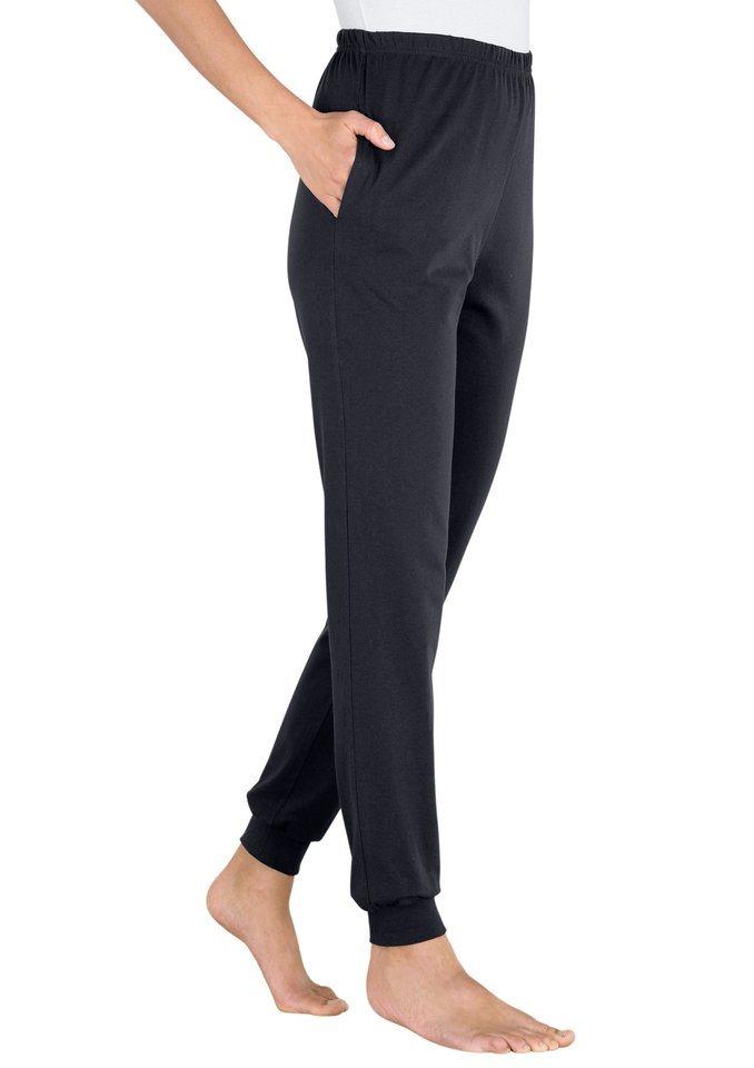 Classic Basics Freizeithose aus weichem atmungsaktivem Single-Jersey in schwarz