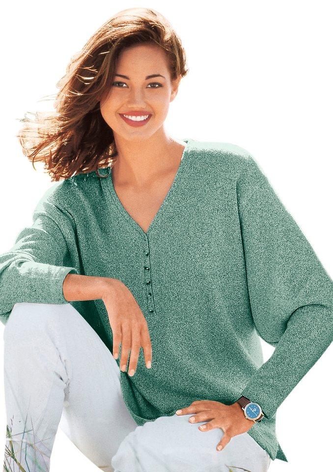 Classic Basics V-Pullover mit kleiner Knopfleiste und Seitenschlitzen in mint