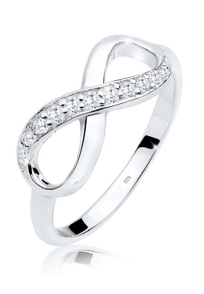 Elli Ring »Infinity Zirkonia 925 Silber« in Weiß