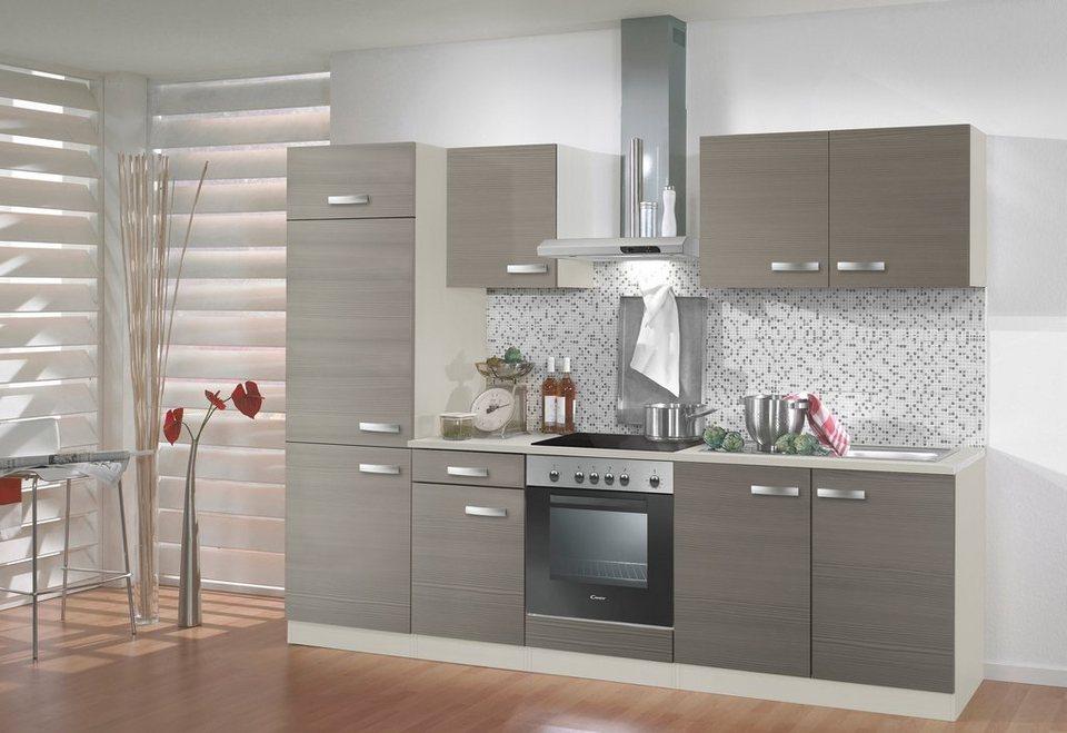 Küchenzeile mit E-Geräten »Vigo«, Breite 270 cm in nougatfarben/champagnerfarben