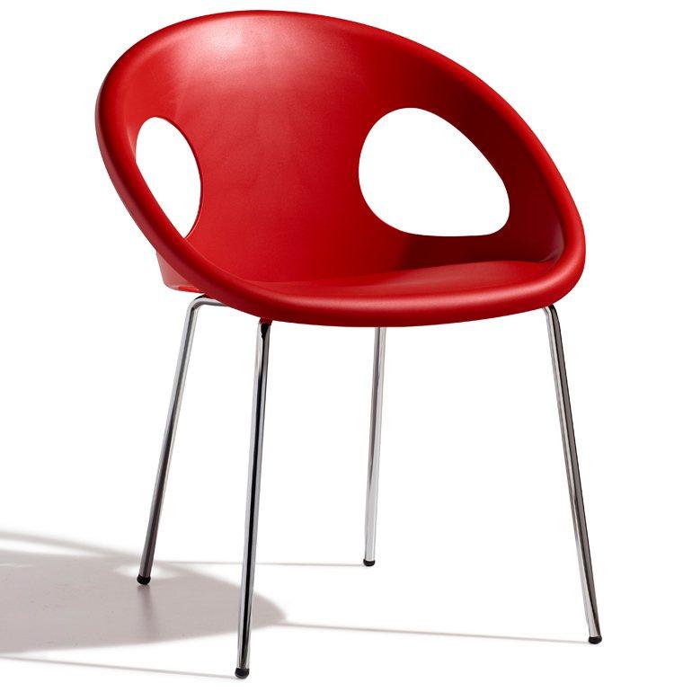 SalesFever Designer Stuhl mit Chrombeinen »Drop 4 Legs« in rot