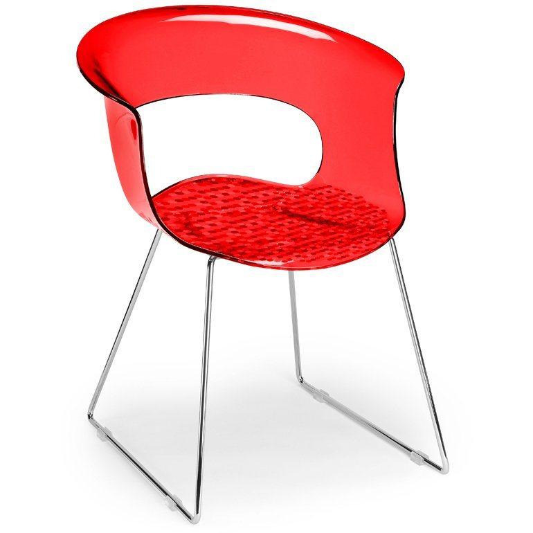 SalesFever Designer Stuhl mit Kufengestell »Miss B Antishock Sledge« in rot transparent