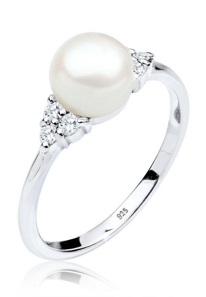 PERLU Ring »Süßwasserzuchtperle Zirkonia 925 Silber« in Weiß
