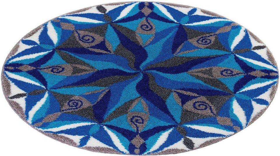 Badematte, Rund, Grund, »Mandala Dahinfliessen«, Höhe ca. 20 mm, rutschhemmender Rücken in türkis