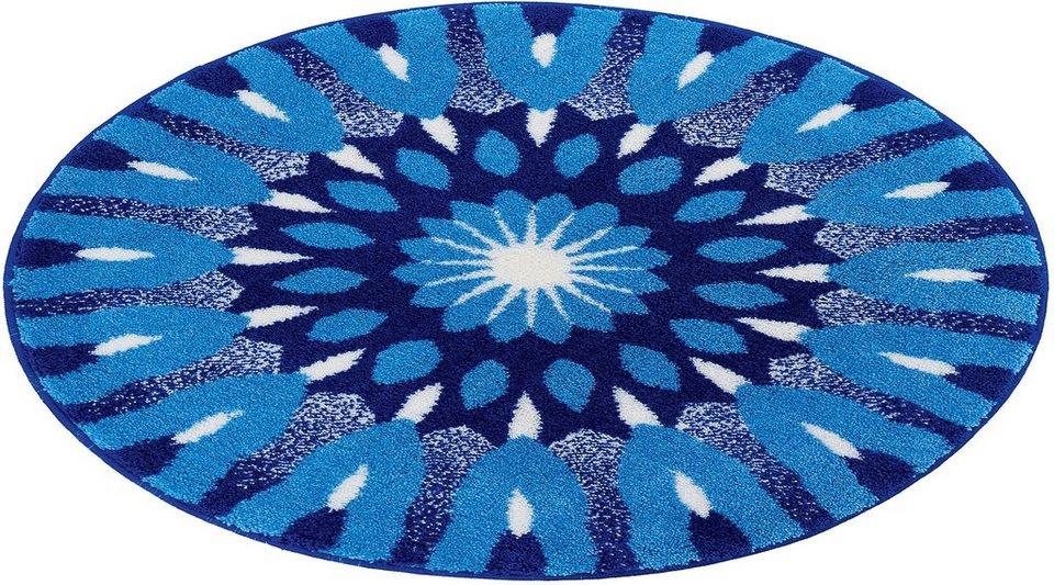 Badematte, Rund, Grund, »Mandala Einsicht«, Höhe ca. 20 mm, rutschhemmender Rücken in marineblau