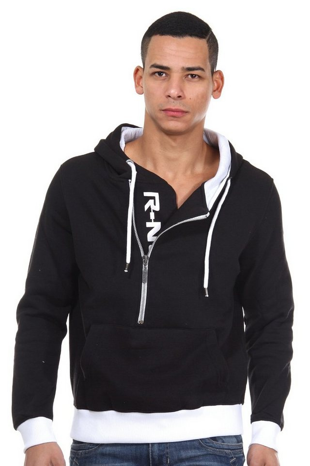 R-NEAL Kapuzensweater mit Zip regular fit in schwarz/weiss