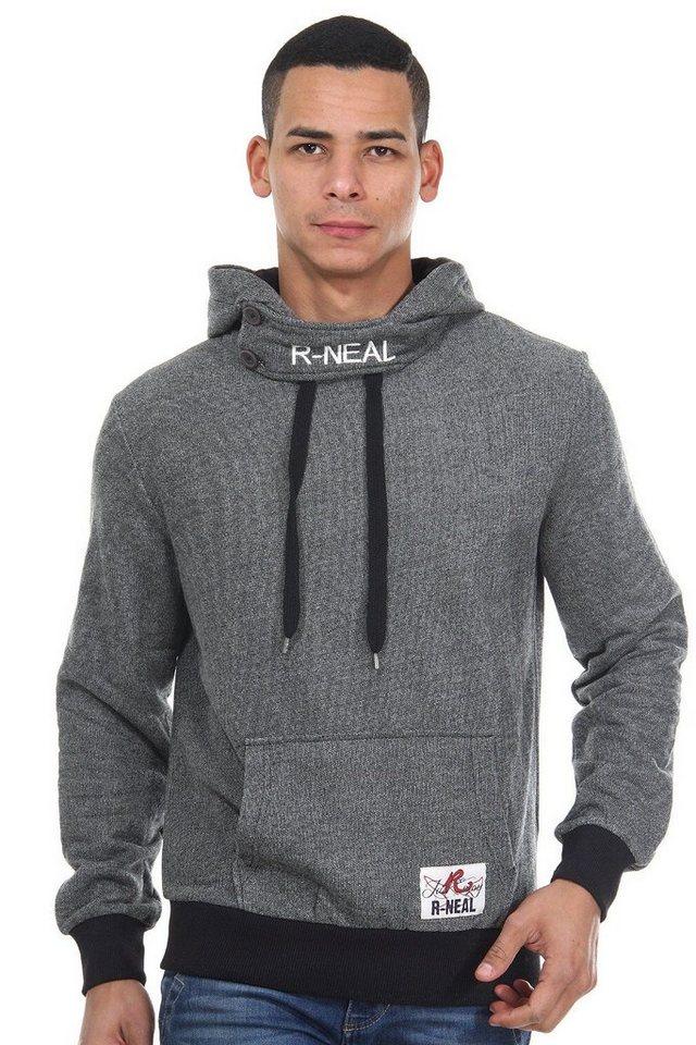 R-NEAL Kapuzensweater mit Stehkragen regular fit in schwarz