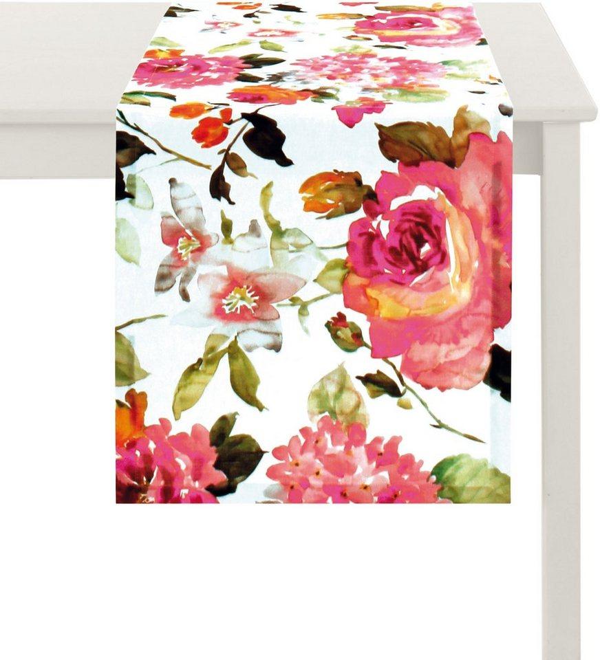 Tischläufer, Apelt, »Blütendruck« in weiß-bunt