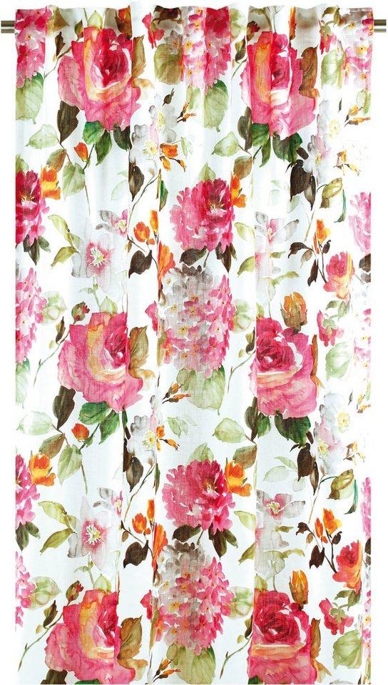 Vorhang, Apelt, »Blütendruck«, mit Smokband (1 Stück) in weiß-bunt
