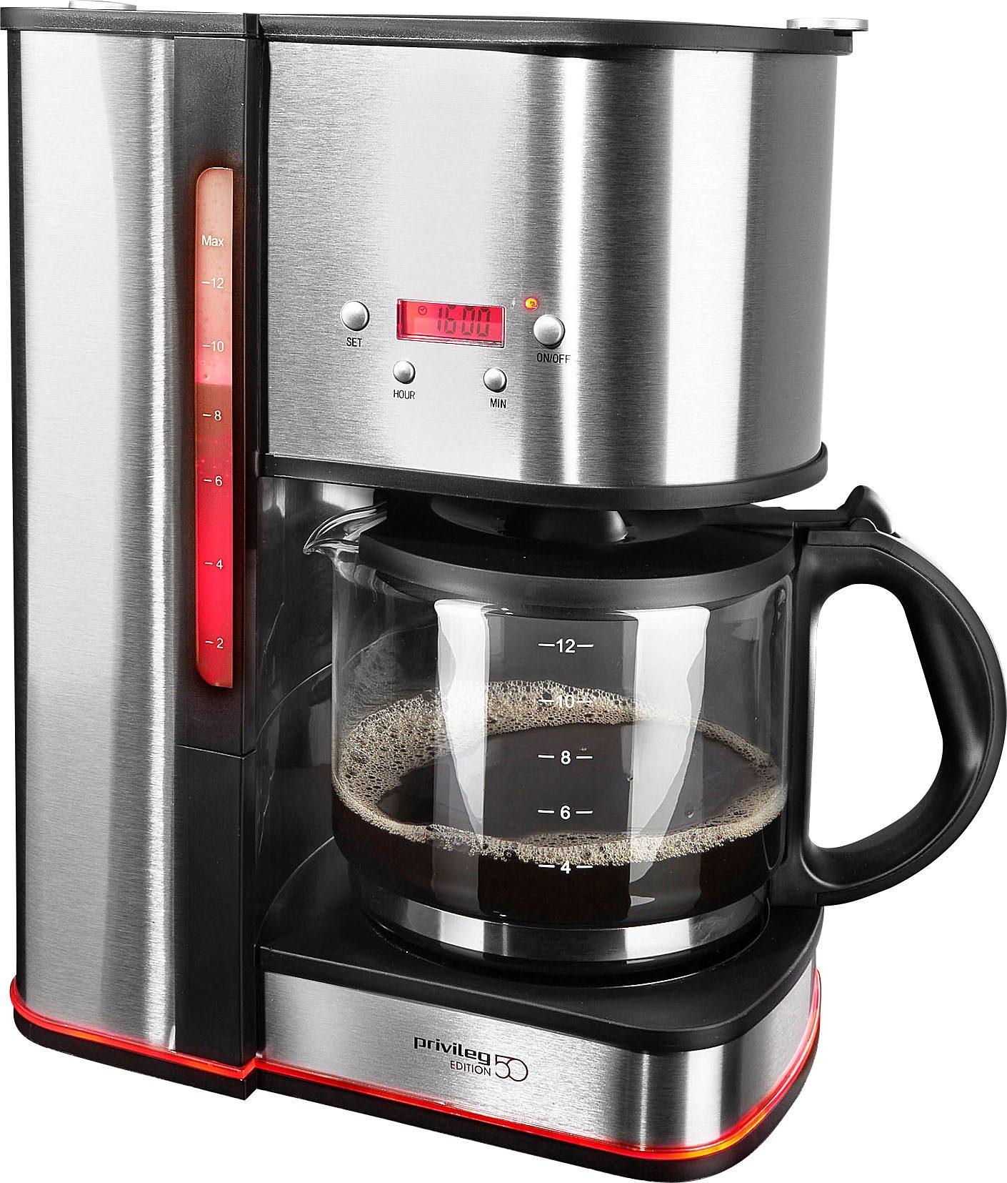 Privileg Filterkaffeemaschine Edition 50, 1,5l Kaffeekanne, Papierfilter 1x4, mit rotem Leuchtring