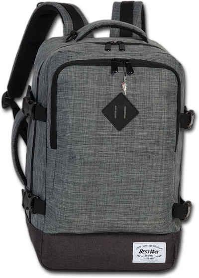 BestWay Bags Reiserucksack »D2ORI103K Bestway grauer Tagesrucksack Bordgepäck«, Herren, Damen Flugbegleiter, Businessrucksack Polyester, grau, Größe ca. 40cm