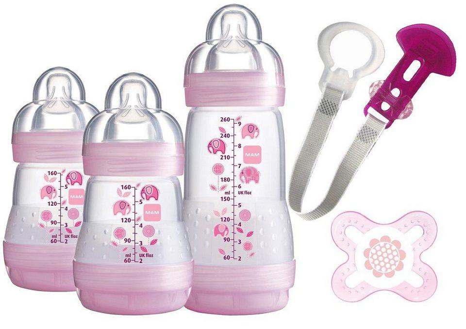 MAM Weithals Flaschen Starterset Anti Colic, 2x160 ml / 1x260 ml in rosa