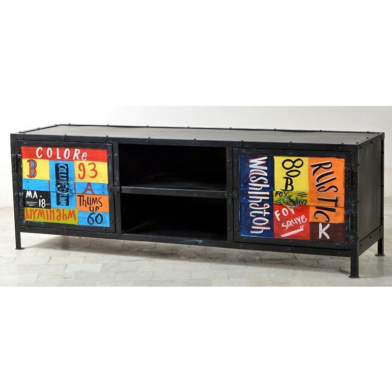 SalesFever Lowboard aus Metall Antiklook handbemalt mit 2 Türen »Neve« in bunt, schwarz