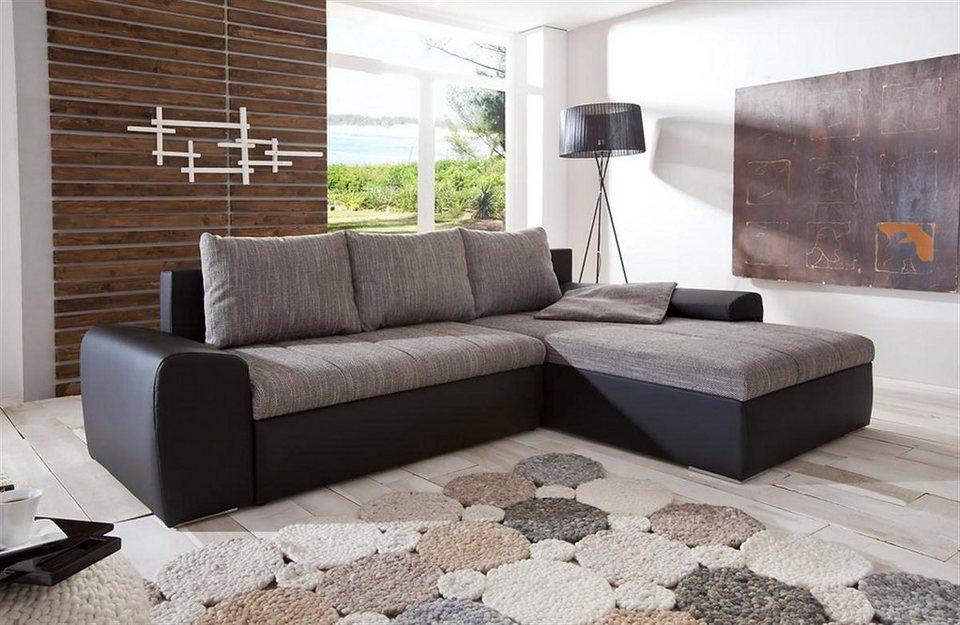 Kasper-Wohndesign Ecksofa mit Bettfunktion Kunstleder schwarz Stoff grau »PALERMO«