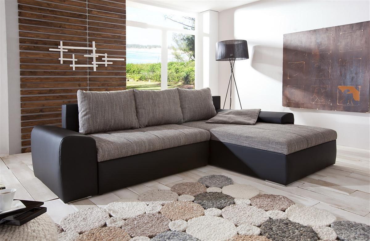 Kasper-Wohndesign Ecksofa mit Bettfunktion Kunstleder schwarz und Stoff grau »PALERMO«