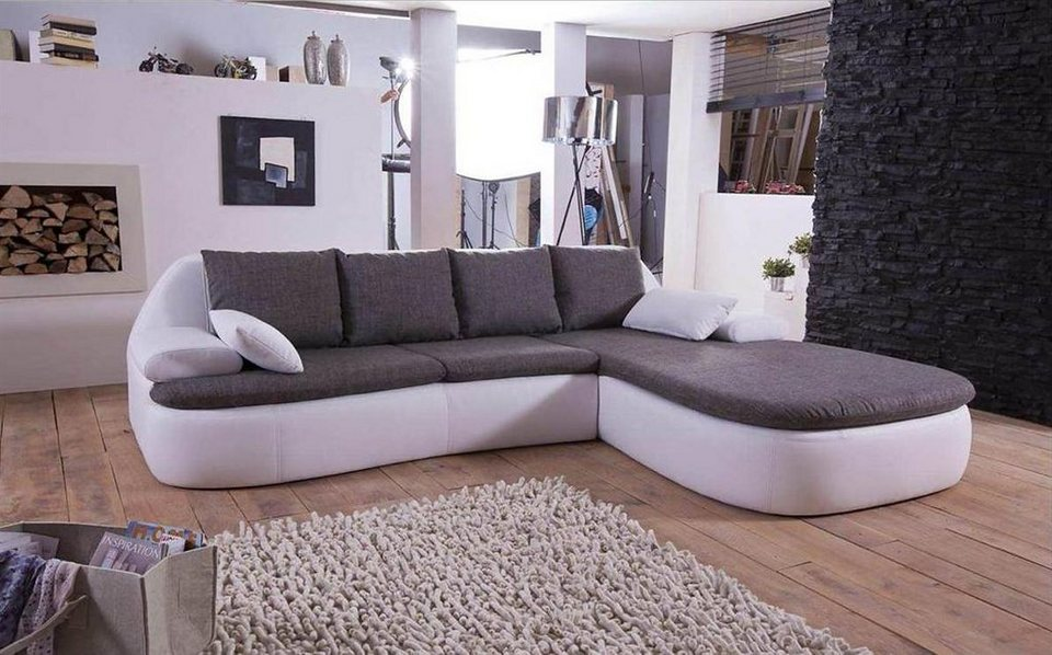 kasper wohndesign ecksofa kunstleder wei stoff grau pescara online kaufen otto. Black Bedroom Furniture Sets. Home Design Ideas