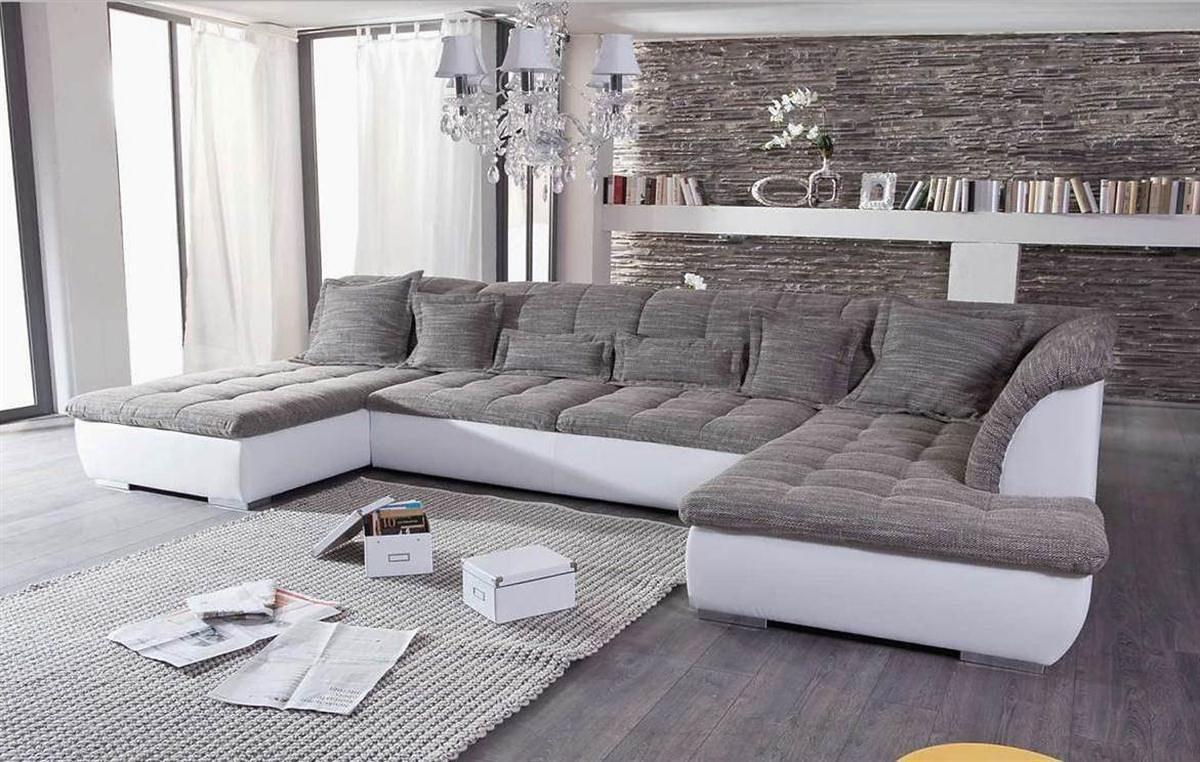 Kasper-Wohndesign Ecksofa Recamiere und Ottomane Kunstleder weiß - Stoff grau »FLORENZ«