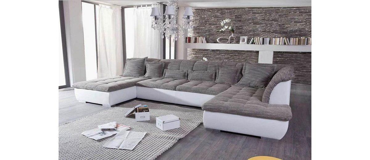 Kasper-Wohndesign Ecksofa Recamiere und Ottomane Kunstleder weiß Stoff grau »FLORENZ«