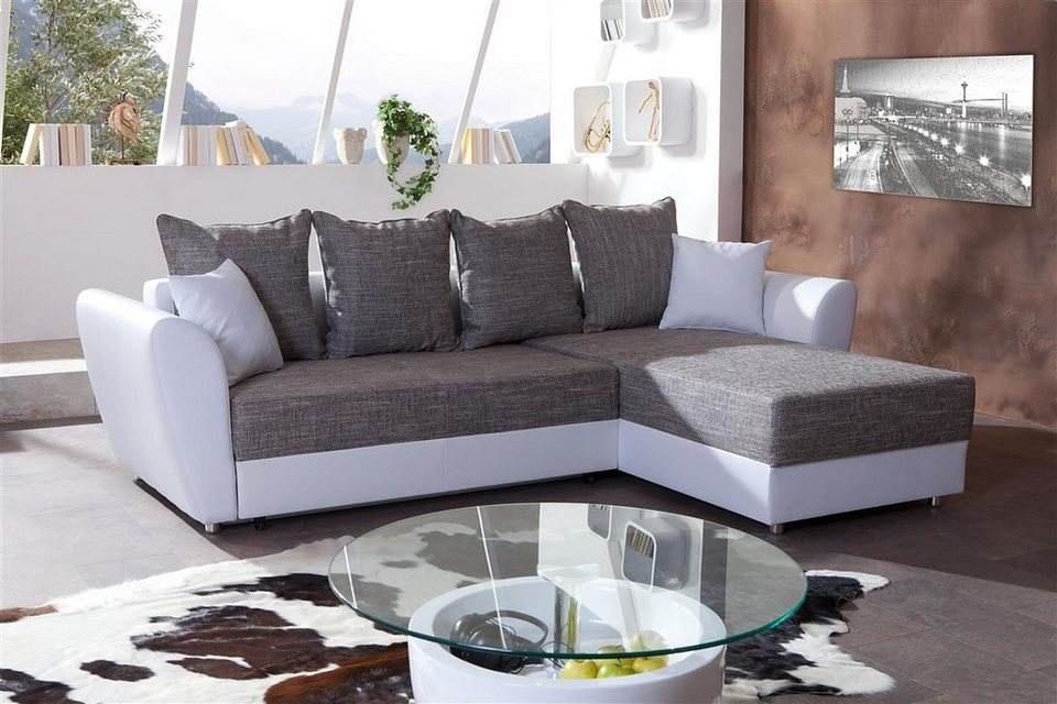 kasper wohndesign ecksofa mit bettfunktion kunstleder weiss stoff grau capri online kaufen otto. Black Bedroom Furniture Sets. Home Design Ideas